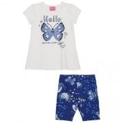 Conjunto Infantil Feminino Blusa Borboleta com Bermuda
