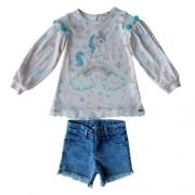 Conjunto Infantil Feminino Blusa e Shorts Petit Cherie