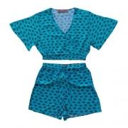 Conjunto Infantil Feminino Blusa e Shorts Olhinhos
