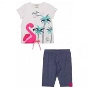 Conjunto Infantil Feminino Blusa Flamingo e Bermuda Ciclista