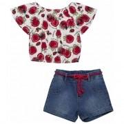Conjunto Infantil Feminino Blusa Tomatinhos e Short Jeans