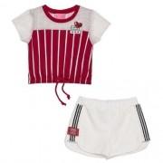 Conjunto Infantil Feminino Blusa Vermelha Listras com Shorts