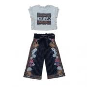Conjunto Infantil Feminino Cropped e Calça Pantacourt