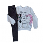 Conjunto Infantil Feminino Moletom Blusa Unicórnio com Legging