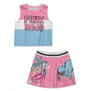 Conjunto Infantil Feminino Regata e Saia Flamingo