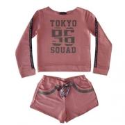 Conjunto Infantil Feminino Rose Moletom e Shorts