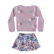Conjunto Infantil Feminino Blusa Tricô com Saia