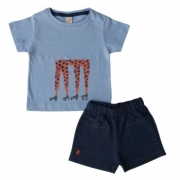 Conjunto Infantil Masculino Camiseta e Bermuda Girafa