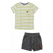 Conjunto Infantil Masculino Camiseta Off com Listras e Short