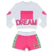 Conjunto Feminino Moletom Infantil Blusa Dream e Shorts