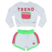 Conjunto Feminino Moletom Infantil Blusa Trend Neon e Shorts