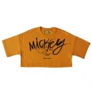 Cropped Infantil Feminino Laranja Mickey