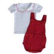 Jardineira Bebê Feminina Tricô Vermelho com Blusa
