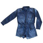 Macaquinho Feminino Curto Infantil Jeans
