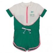 Macaquinho Infantil Feminino Malha Canelada Verde
