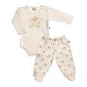 Pijama Bebê Feminino Estampado Body com Mijão com Proteção Antiviral