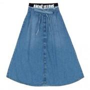 Saia Midi Feminina Infantil Jeans
