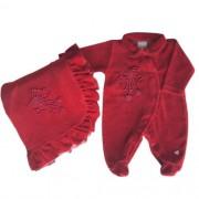 Saída de Maternidade Feminina Plush Vermelha com Laço Pérolas