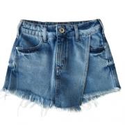 Short Saia Jeans Infantil Feminino Barra Desfiada Colcci Fun
