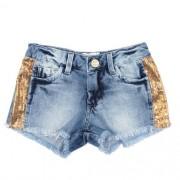 Shorts Jeans Feminino Infantil com Paetê Laterais