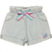 Shorts Jeans Infantil Feminino Bolso Bordado