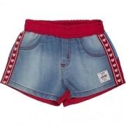 Shorts Jeans Infantil Feminino Detalhe em Tactel