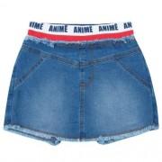 Shorts Saia Feminino Infantil Jeans com Cós Listrado