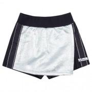 Shorts Saia Feminino Infantil Preto com Prata