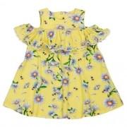 Vestido Bebê Feminino  Amarelo com Flores  e Abelhinhas