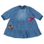 Vestido Feminino Bebê Jeans com Corações Aplicados