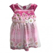 Vestido Feminino Bebê Rosa com Margaridas e Tule