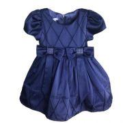 Vestido Feminino Festa Azul Marinho Laços na Cintura