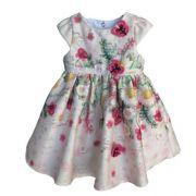 Vestido Feminino Festa Bebê Floral com Borboletas em 3D