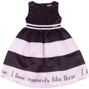 Vestido Feminino Festa Infantil Preto com Listras Rosa