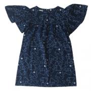 Vestido Infantil Feminino Azul Marinho Coelhinhos 1+1