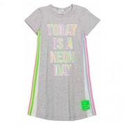 Vestido Infantil Feminino Cinza com Listras Neon na Lateral