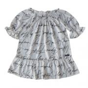 Vestido Infantil Feminino Off White Palavras Green By Missako