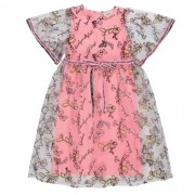 Vestido Infantil Feminino Rosa com Tule Bordado