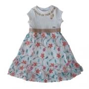 Vestido Infantil Feminino Tule Bordado Flores
