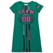 Vestido Infantil Feminino Verde Canelado Team