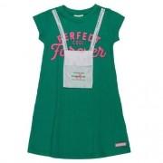 Vestido Infantil Feminino Verde com Bolsinha