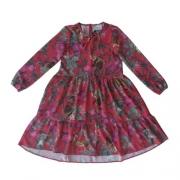Vestido Infantil Feminino Vermelho Animais Bosque
