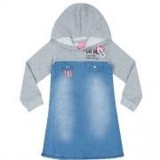 Vestido Infantil Feminino Jeans com Moletom Cinza Momi