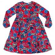 Vestido Feminino Midi Infantil  Vermelho Floral