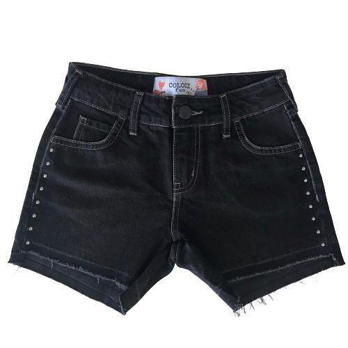 Bermuda Feminina Infantil Jeans Preta com Rebites