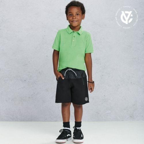 Bermuda Infantil Masculina Moletom Preta com Cós em Tactel