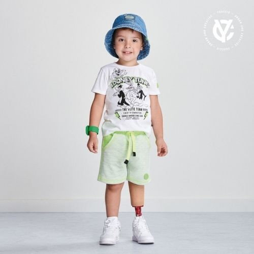 Bermuda Infantil Masculina Moletom Verde Neon Youccie