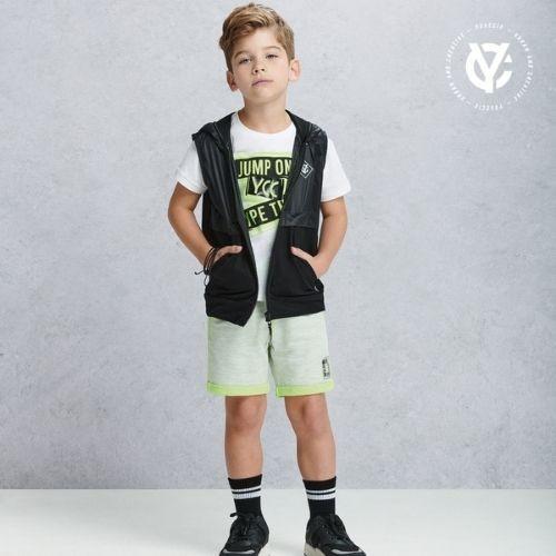 Bermuda Infantil Masculina Moletom Verde Neon