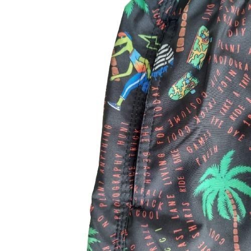 Bermuda Infantil Masculina Tactel Preto Coqueiros