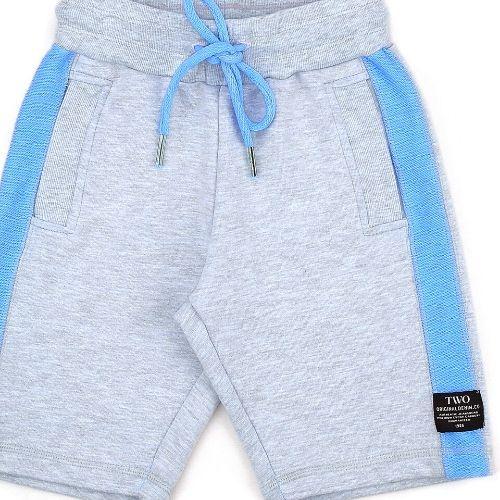 Bermuda Infantil Masculina Moletom Cinza com Lateral Azul